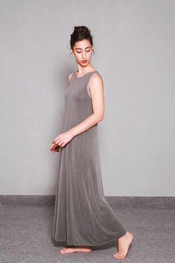 Gray Maxi Dress Long Summer Dress Sleeveless By Dragonflyhm Grey Maxi Dress Long Summer Dresses Long Maxi Dress