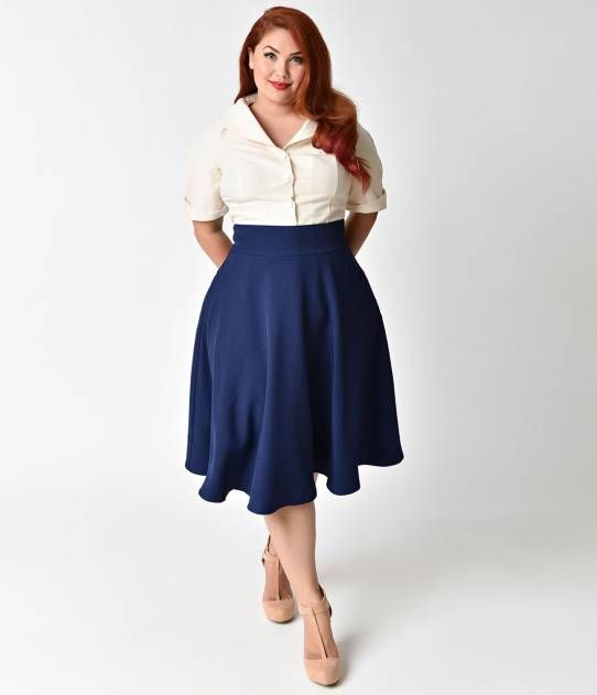 db34aaad01f Unique Vintage Plus Size Retro Style Navy Blue High Waist Vivien Swing Skirt
