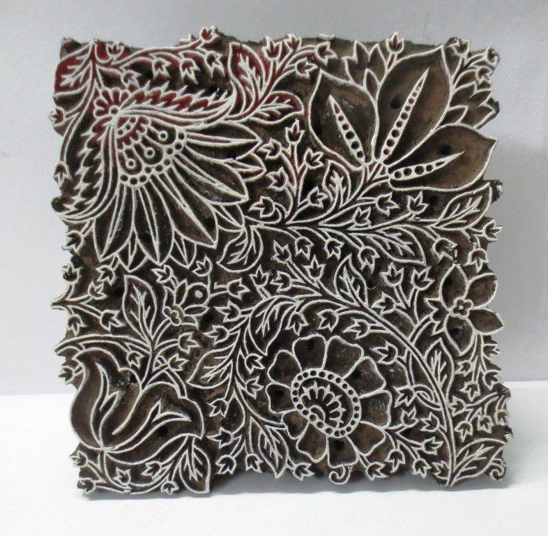 Motif Floral Textiles Blocs DImpression De Timbre En Bois Sculpt/é /À La Main Bloc De Bois