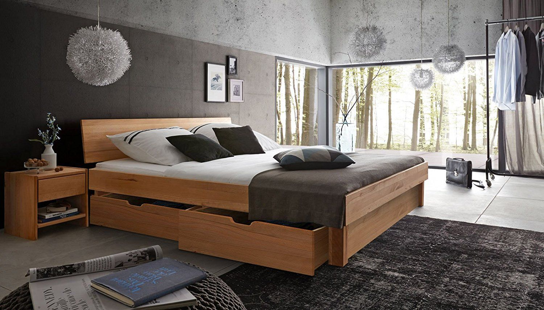 SAM® MassivHolzbett Campus mit Bettkästen in Kernbuche