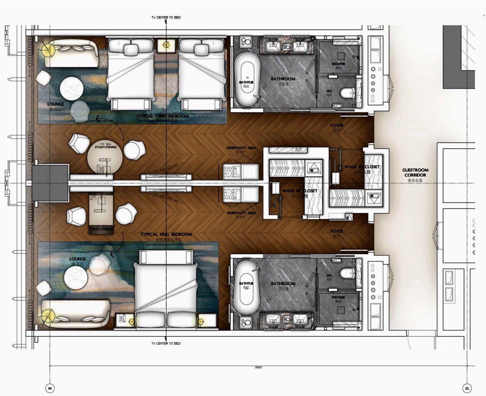 Hba Conrad Changsha Typical Guest Room 52 7 Sqm Hotel Room Design Plan Hotel Floor Plan Hotel Room Design