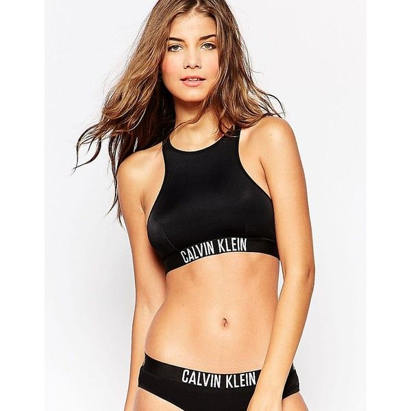 8067046f82 Calvin Klein Intense Power Crop Bikini Top (355 DKK) ❤ liked on Polyvore  featuring swimwear