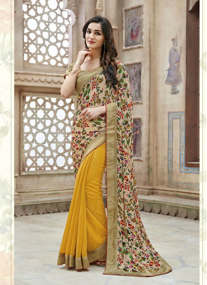 8505899753 Faux Georgette Cream and Yellow Floral Print Printed Party Wear Saree