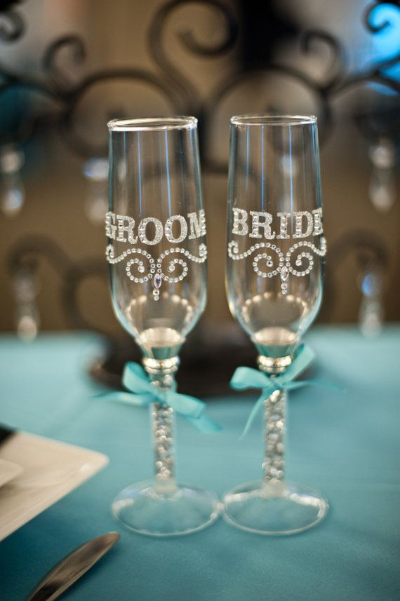 Tiffany Blue Wedding Bling Bride Groom Toasting Flutes
