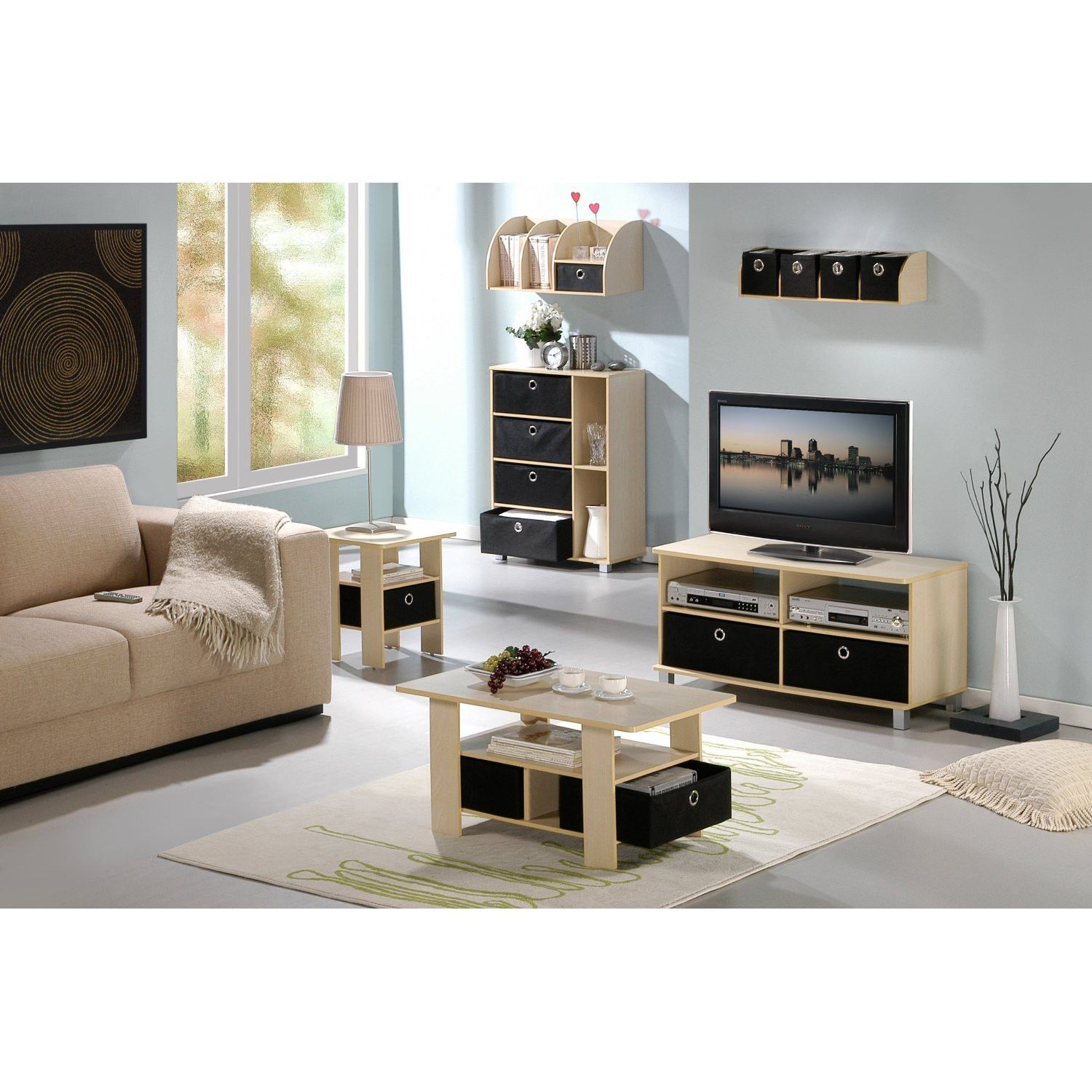 Furinno Coffee Table w Bin Drawer Steam Beech Black SBE BK