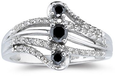 12 Carat Black and White Diamond Ring 10K White Gold Retail Value