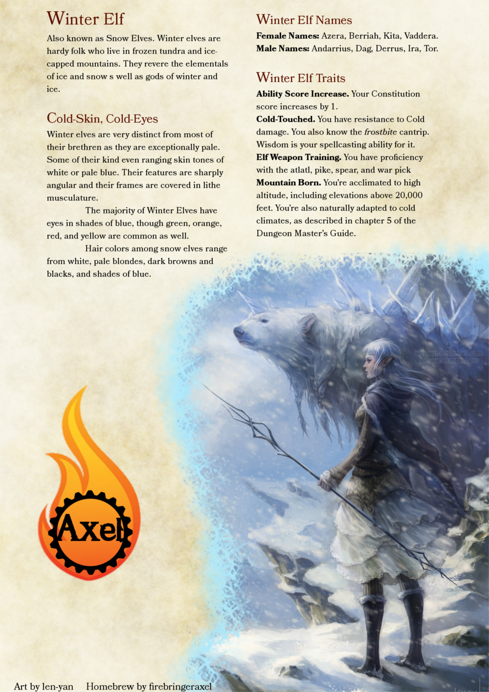 Winter Elf: DnD 5e Homebrew | Paracosm | Dungeons, dragons