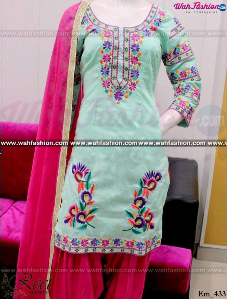 Captivating Turquiose Embroidered Punjabi Suit Women S Fashion In