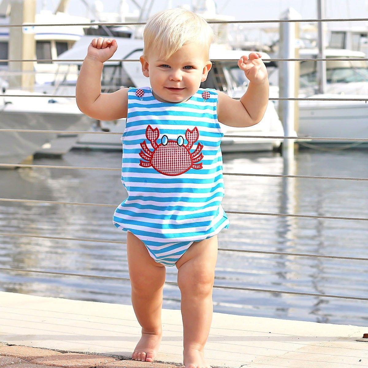 68a76defc1 Applique Crab Boy Bubble Turquoise Knit Stripe - Bubbles - Boys Smocked  Auctions