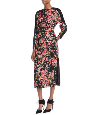 02605de78069 Escada Long-Sleeve Floral-Print Hammered Silk Midi Dress w  Chiffon Inset