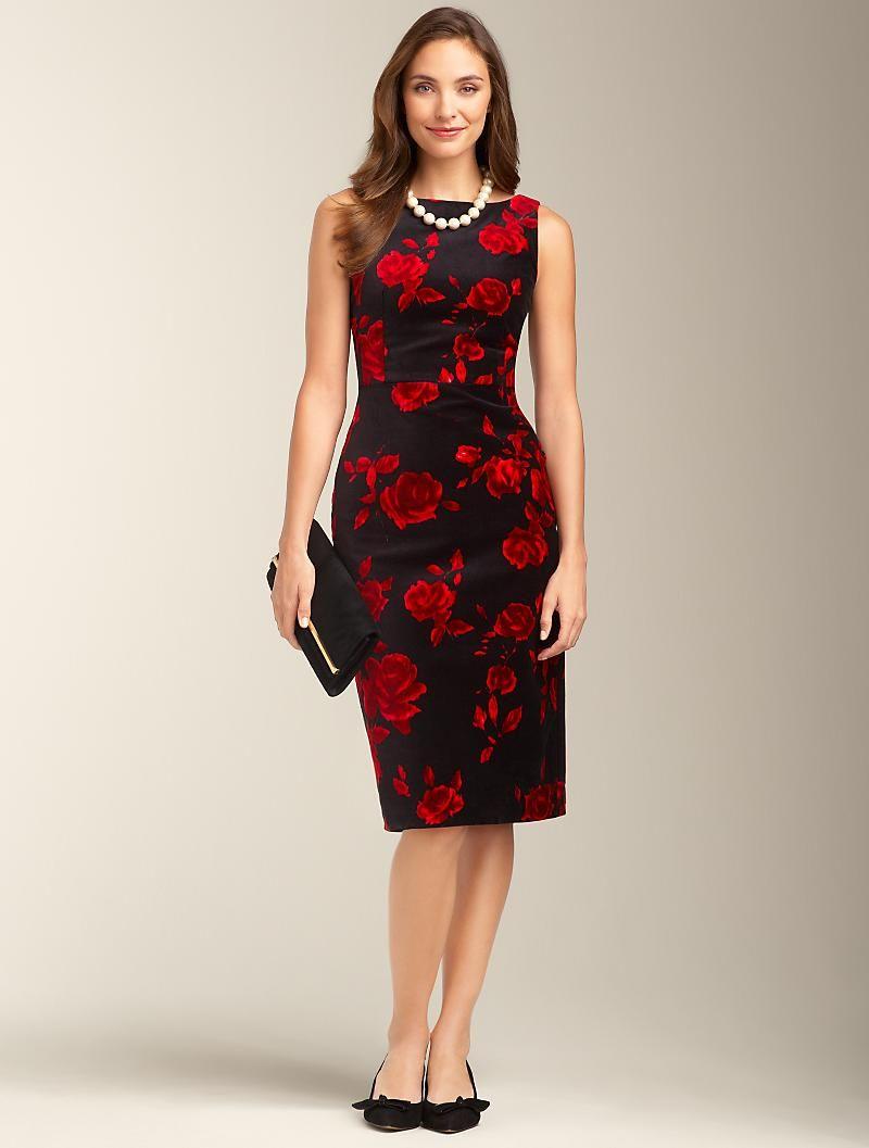 Talbots Rose Print Velveteen Dress Dresses Petites Velveteen Dress Dresses Talbots Outfits [ 1057 x 800 Pixel ]