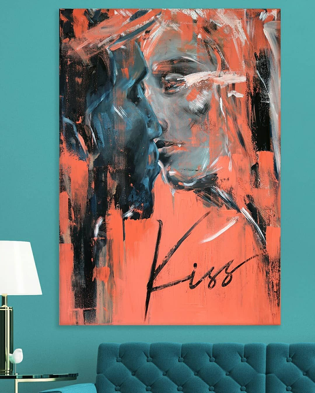 Kiss Nun Auch Das Kunstwerk In Einer Wohnlichen Und Stylischen Atmosphäre Coburg Acryl On Canvas Benpetstudio