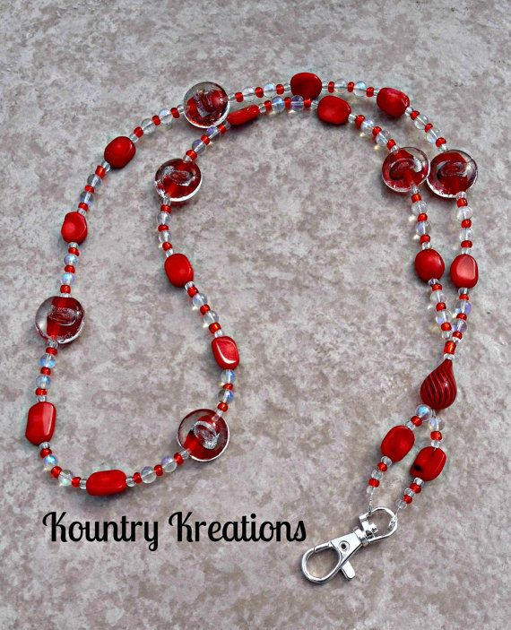 Beaded Lanyard ID Badge Holder / Red and by KountryKreations2008, $20.95