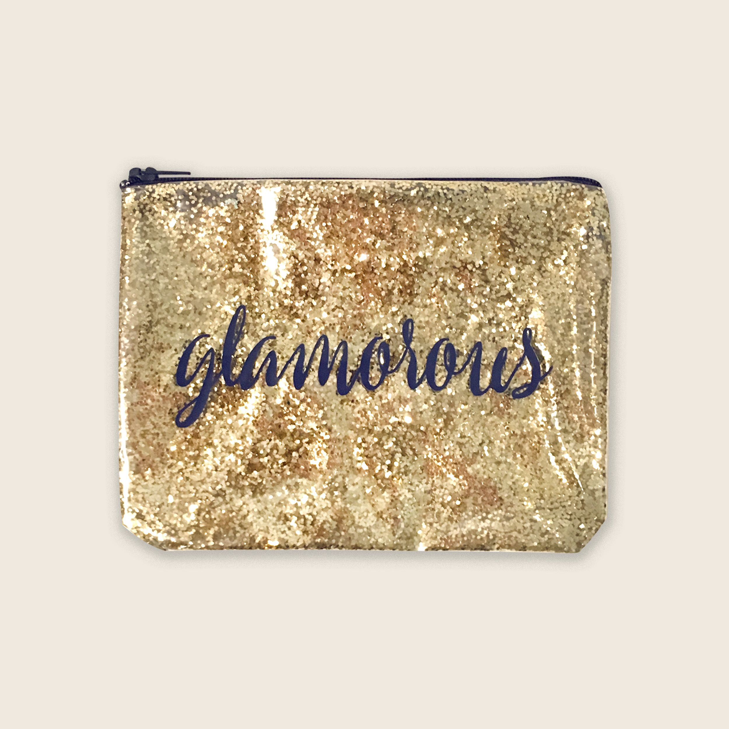 Gold Glitter Bags With Sayings, Glitter Zipper Pouch
