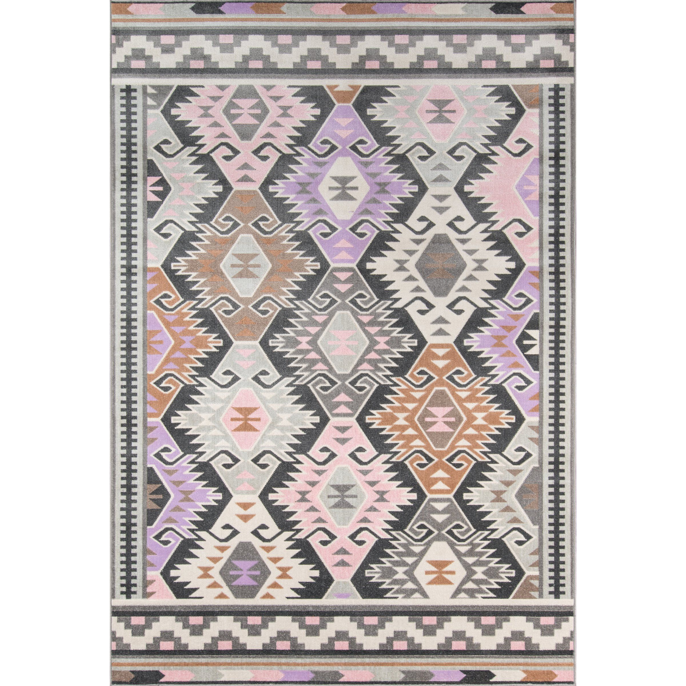 Boho Holiday Indoor Outdoor Pink Lilac Area Rug