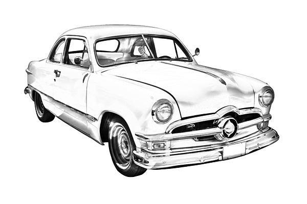 1950 ford custom anrique car illustration canvas poster print