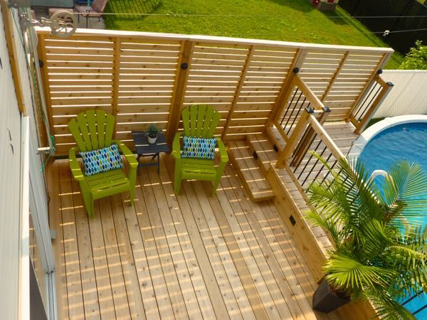 Patio plus deck de piscine piscine pinterest for Above ground pool privacy ideas