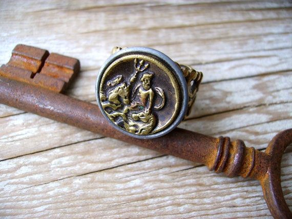 Victorian Button Ring Greek Myth Poseidon Sea God Cut