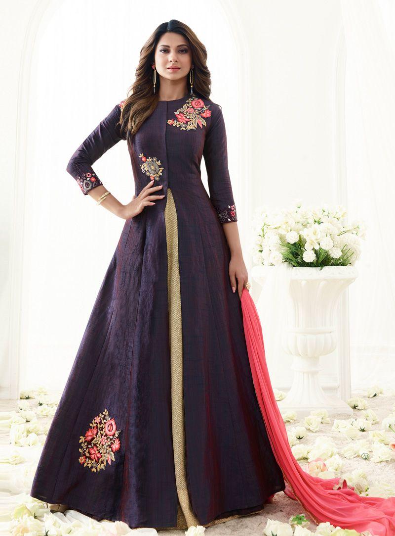512afc2c37 Jennifer Winget Violet Banarasi Silk Center Slit Long Anarkali Suit 96961