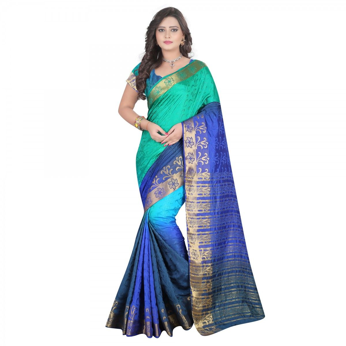 Buy Peacock Green - Blue Silk Saree for womens online ...