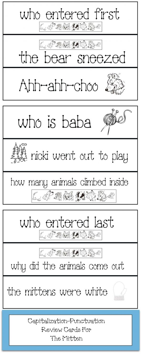 The Mitten Punctuation And Capitalization Review Cards Punctuation Activities Mittens Kindergarten Lessons [ 1483 x 600 Pixel ]