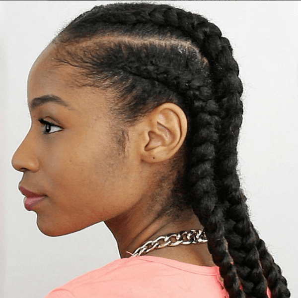 Try The 4 Cornrows On Natural Hair With Extensions Tutorial For An Awesome Protective Style Cornrows Natural Hair Natural Hair Styles Black Natural Hairstyles