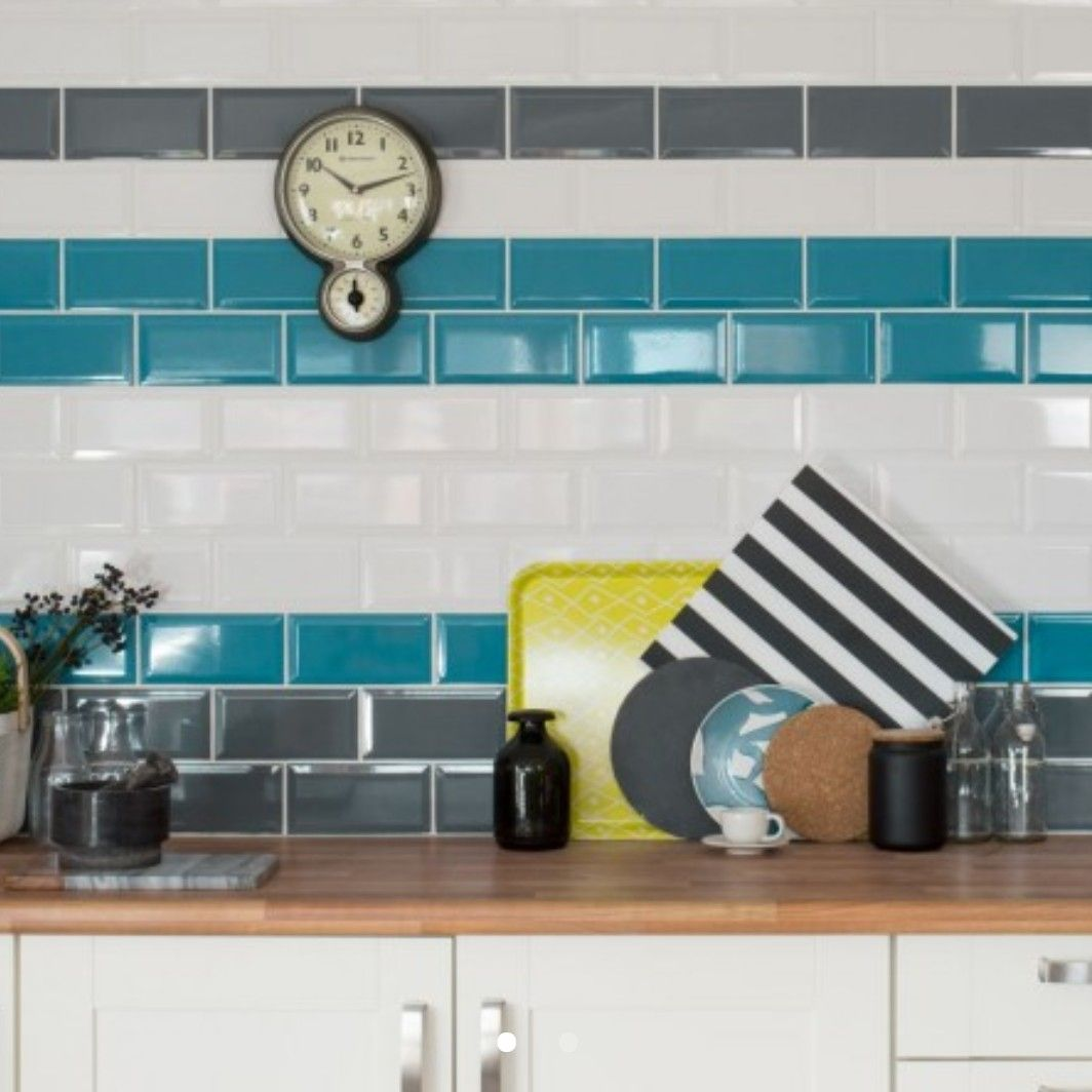 Bevelled Brick Teal Gloss Tiles, £16.95 p/m2, Walls and Floors ...