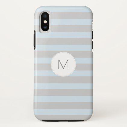 Simple gray blue stripe monogram phone case monogram
