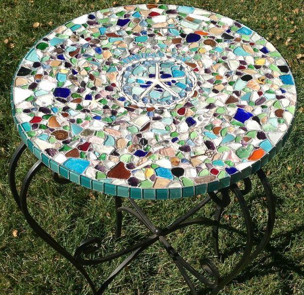 Sea Glass Mosaic Tabletop