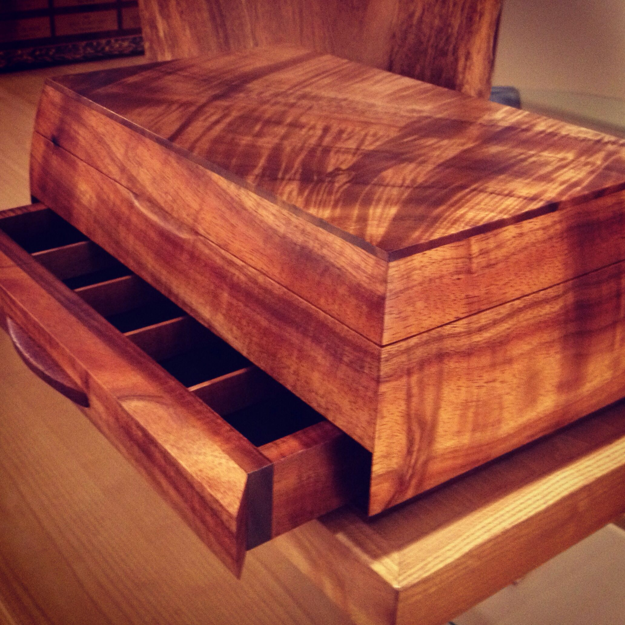 New Solid Curly Koa Martin Box With Hidden Drawer Made In Hawaii By Our Craftsmen Www Martin Woodworking Storage Rustic Woodworking Woodworking Box