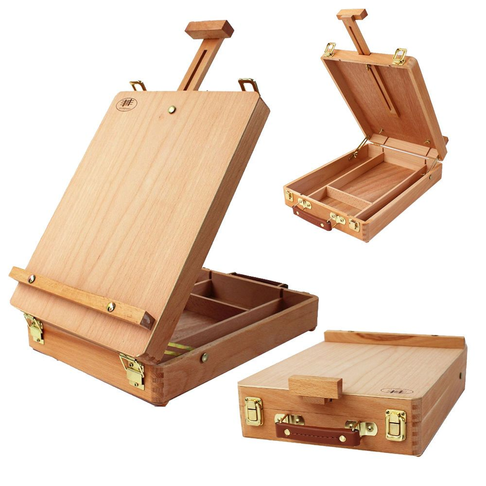 3 Layers Portable Place Draw Desktop Beech Paint Box Easel Sketchbox Burlywood