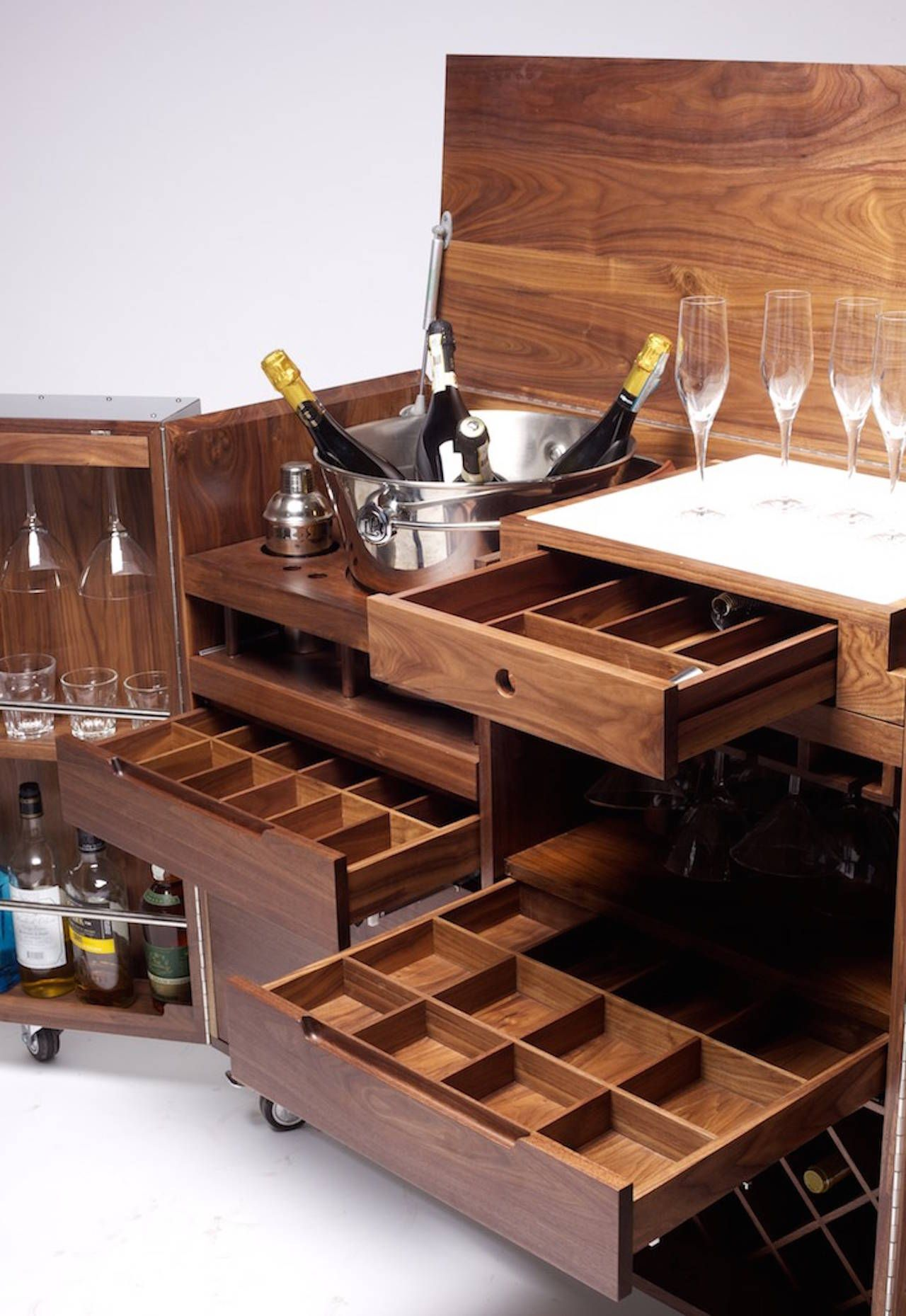 Mobile Bar And Wine Cabinet In Walnut And Stainless Steel By Naihan Li 8 Photo Gallery