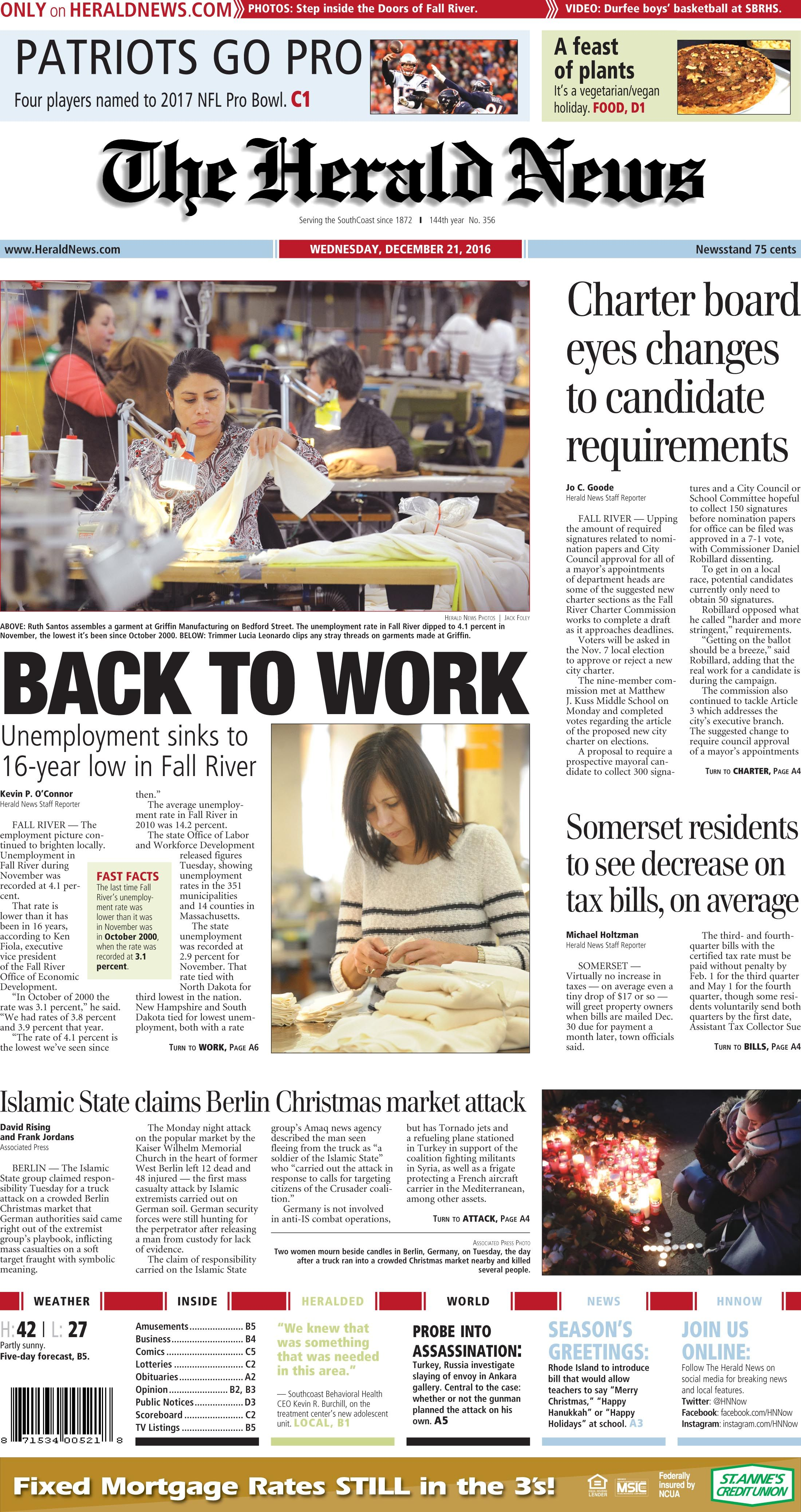 The front page of The Herald News for Wednesday, Dec. 6, 6