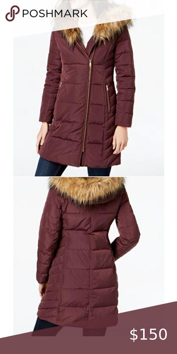 Women's Cole Haan faux fur hood puffer down coat W