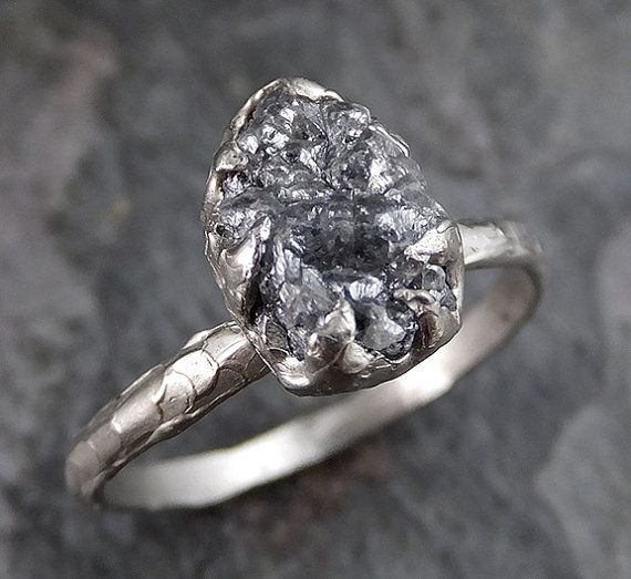 rough raw black diamond engagement ring raw 14k white gold wedding ring wedding solitaire rough diamond ring byangeline