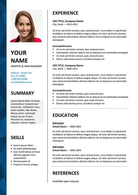 Dalston Free Resume Template Microsoft Word  Blue Layout  Resume