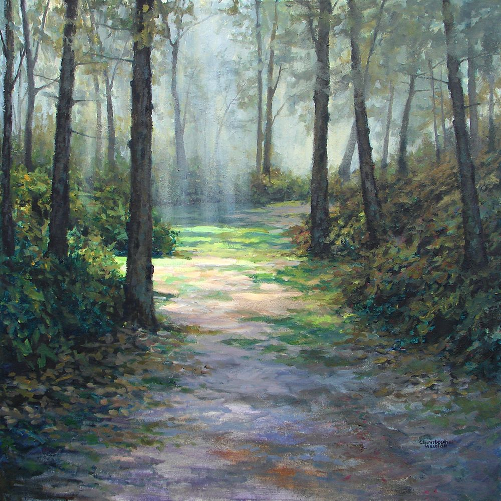 """""""Forest Light"""" 30"""" x 30"""" Landscape, Country roads"""