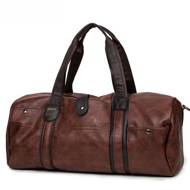 dc5512a441 Hot Sales Men Large Capacity Oil Wax Leather Handbags For Portable Shoulder  Bags Men s Casual Travel Bags Package Men Duffle Bag