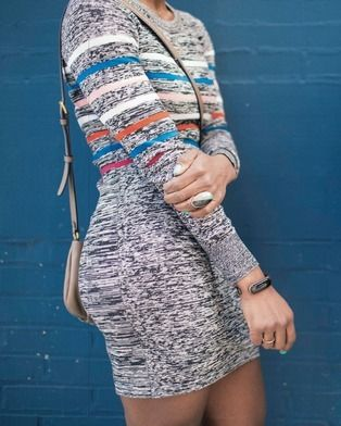 The Mira wellness bracelet goes so well with this heather gray and colored striped body con dress, no one will ever know you're tracking steps. Mira is designed for and inspired by women, so all of our beautiful bracelets let you show your style while helping you live a healthier life.