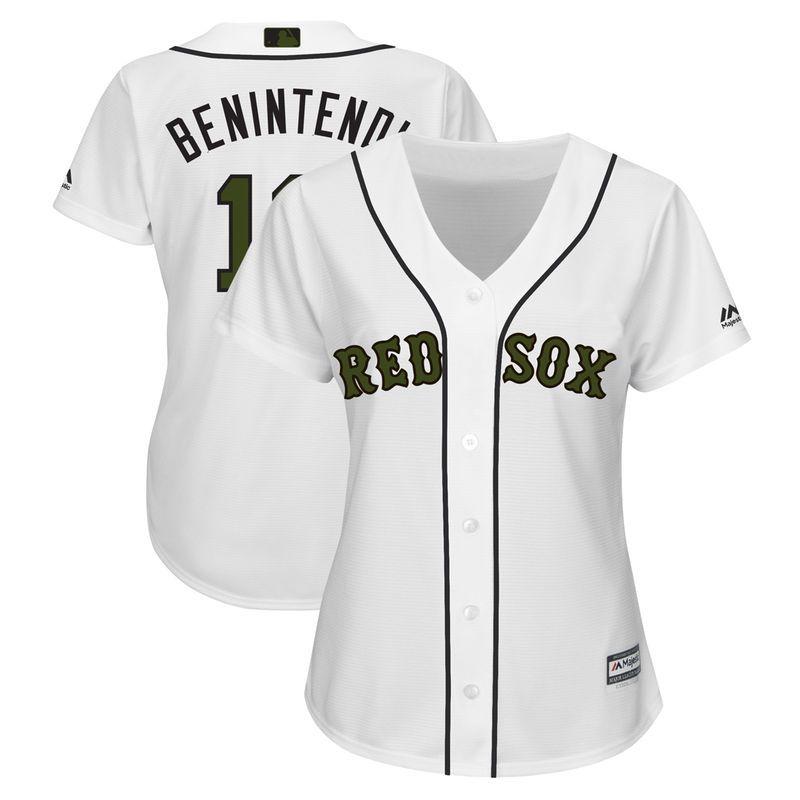 efb8bdf85 Andrew Benintendi Boston Red Sox Majestic Women s 2018 Memorial Day Cool  Base Player Jersey – White