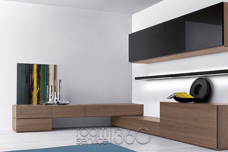 People 66 Corner Wall Unit In Nero Glass And Walnut Wood Finish By