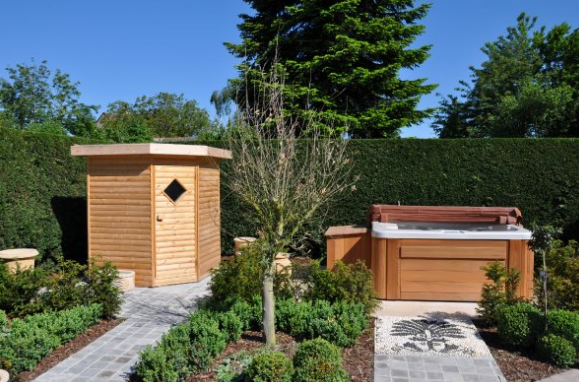 Jacuzzi In Tuin : Garden #jacuzzi #spa #tuinhuis #tuin #hot tub #wellness wellness