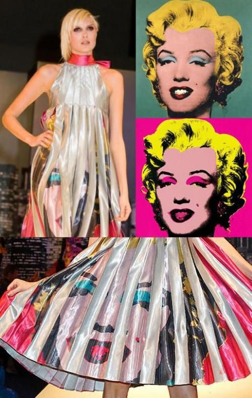 Marilyn Monroe hot Plnk (1967) by Warhol was transferred to a Hannah Hoyle pleats of a dress.