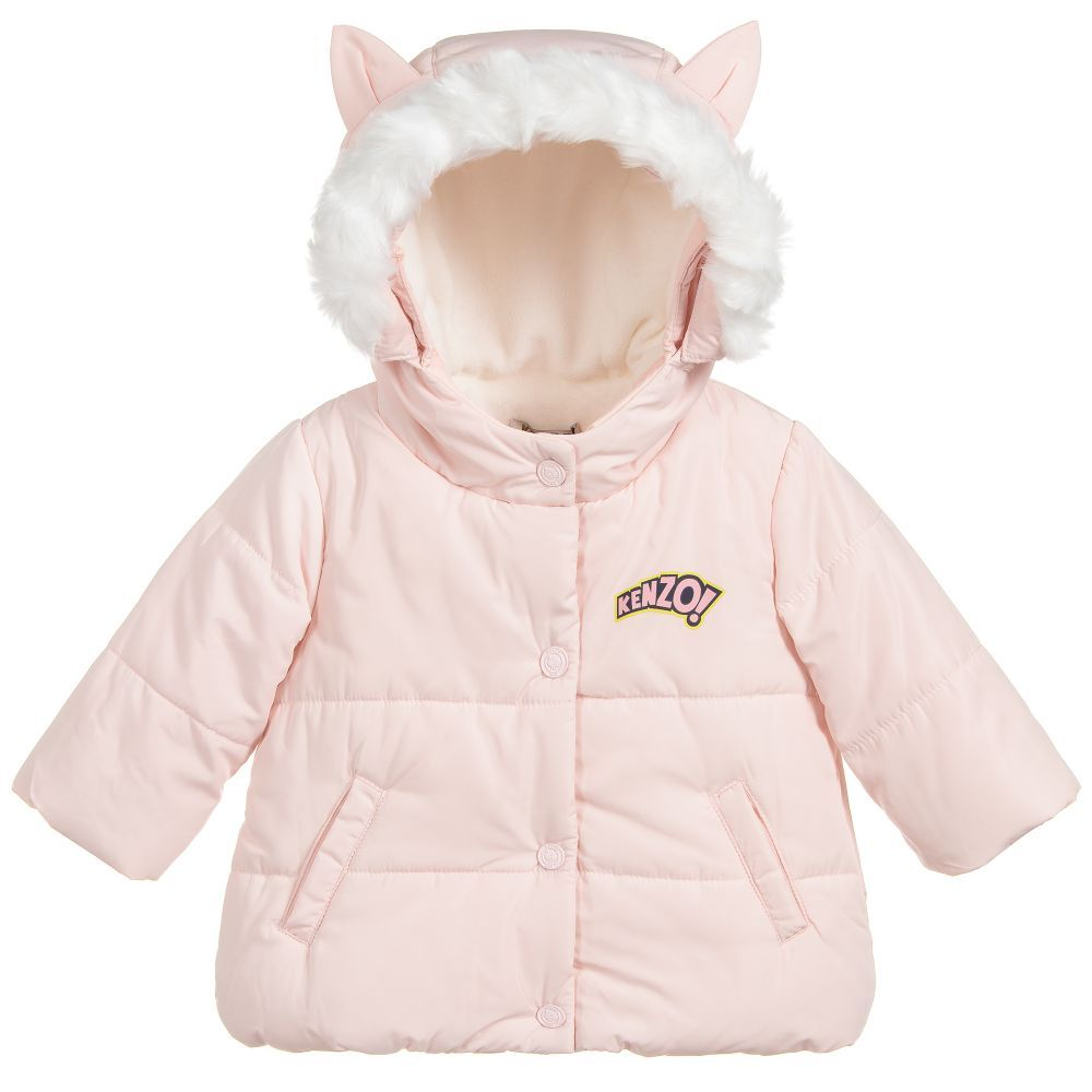 6942d163c Girls Pink Padded Coat for Girl by Kenzo Kids. Discover more ...