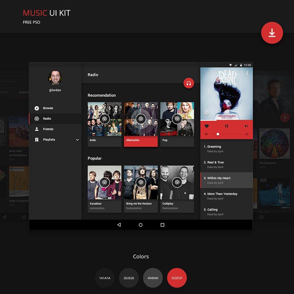 Android Music Application UI Kit Free PSD | Free UI/UX Kit