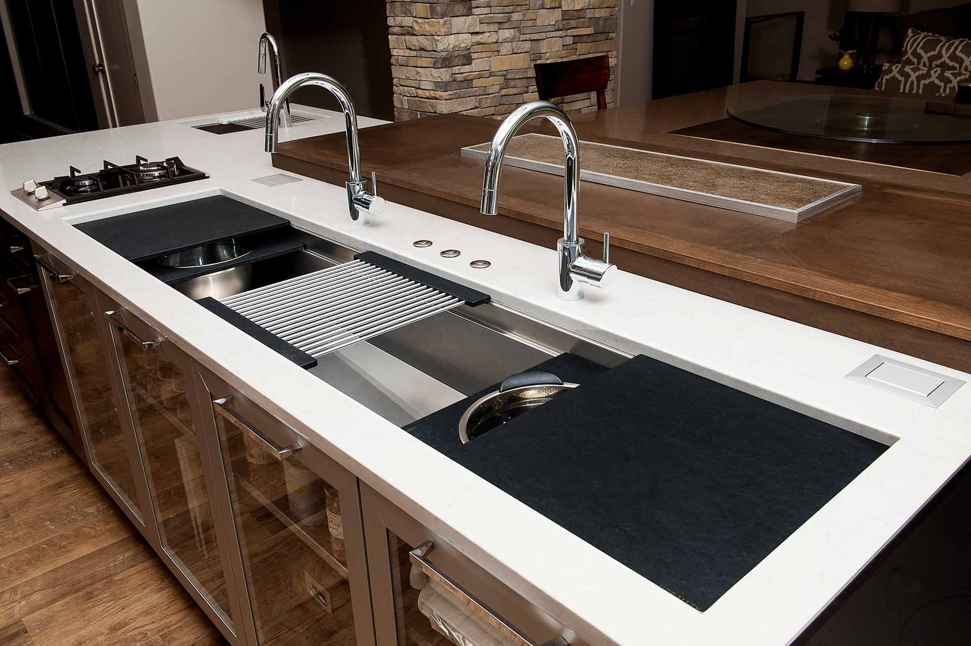 Iws 7 large stainless steel kitchen sink graphite wood composite culinary kit