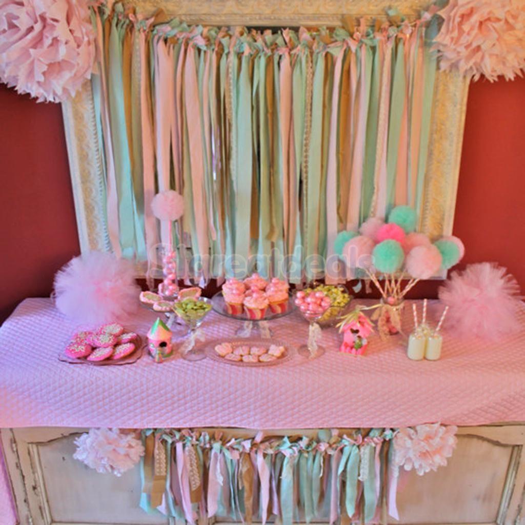 Outdoor Wedding Bathroom Ideas: Wedding Party Baby Shower Outdoor Decor Tulle Pom Poms
