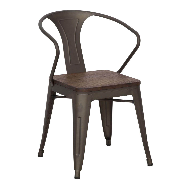 Set 2 sedie in ferro e legno di olmo stile industrial ...