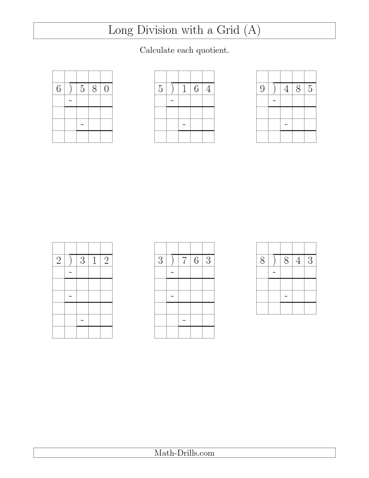 The Long Division with Grid Assistance and Prompts 3-Digit by 1-Digit with  Remainders (A) math works…   Division worksheets [ 1584 x 1224 Pixel ]