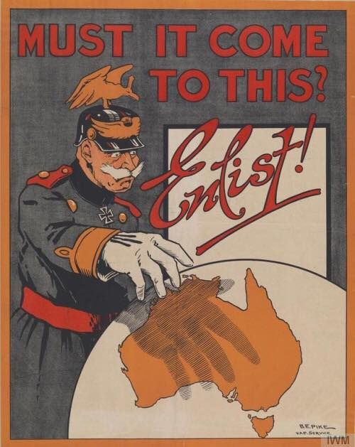 Word War One poster of Kaiser Wilhelm II standing by a globe with